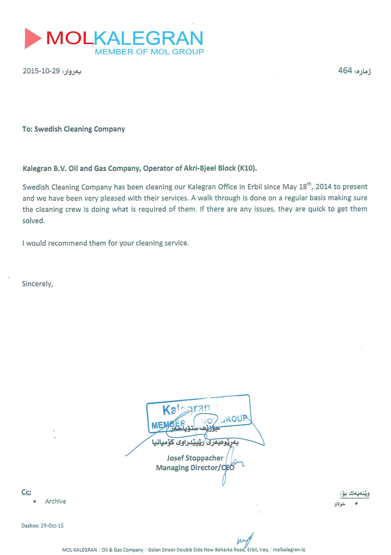 Certificates of Appreciation | Swedish Clean Iraq